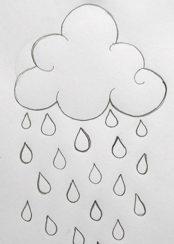 how to draw a raindrop step by step
