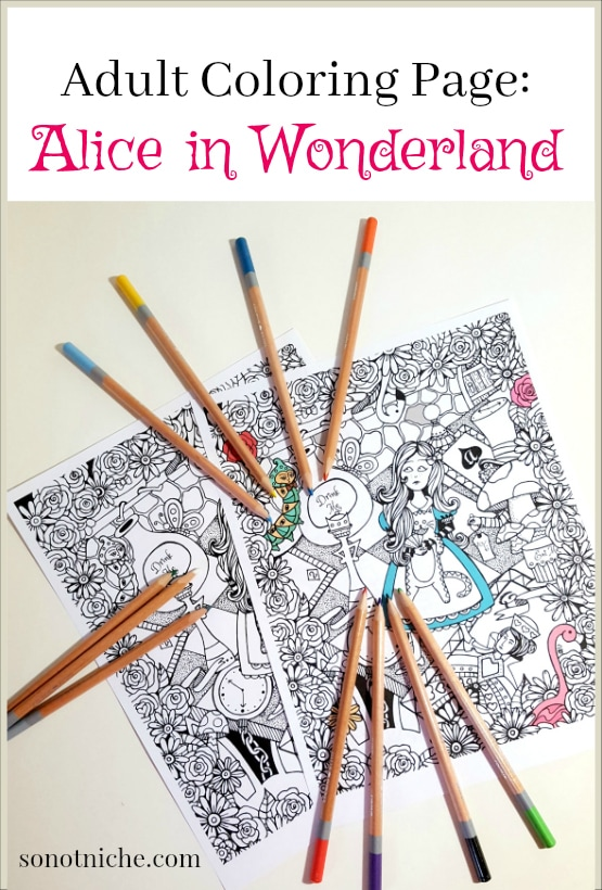 Adult Coloring Page design: Alice in Wonderland Printable