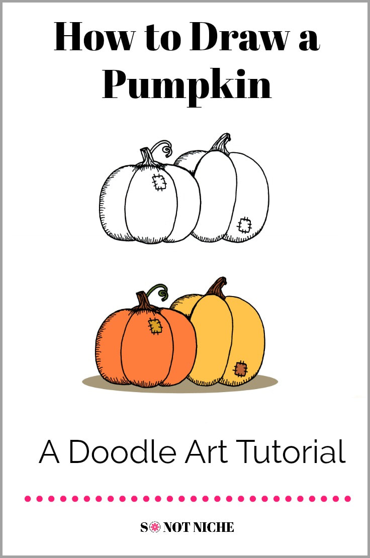 Draw a pumpkin doodle with this easy art tutorial. Cute pumpkins for bullet journals and craft projects.