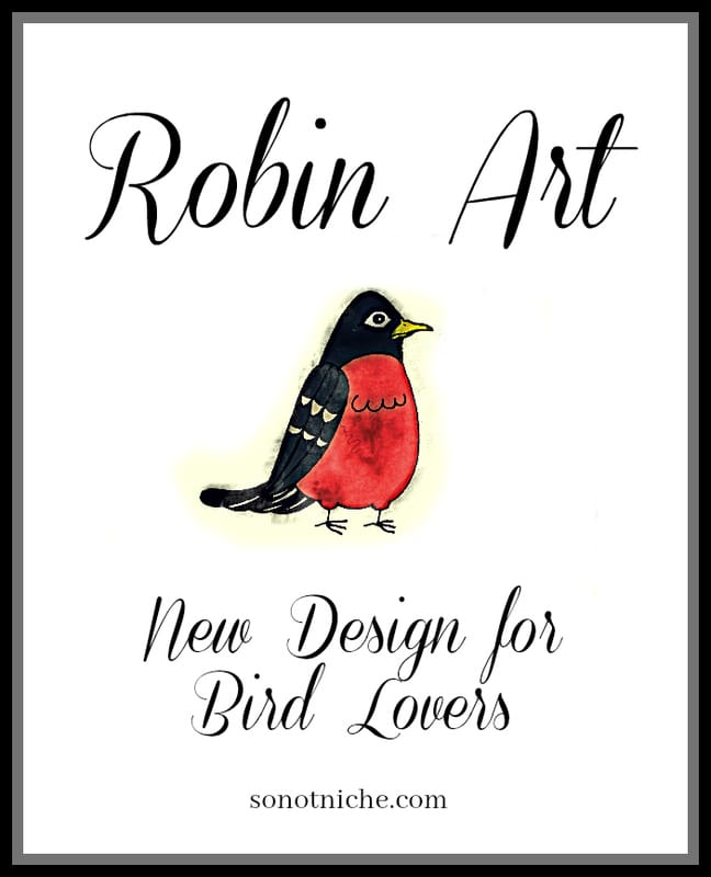 New art for bird lovers. Robin redbreast design.
