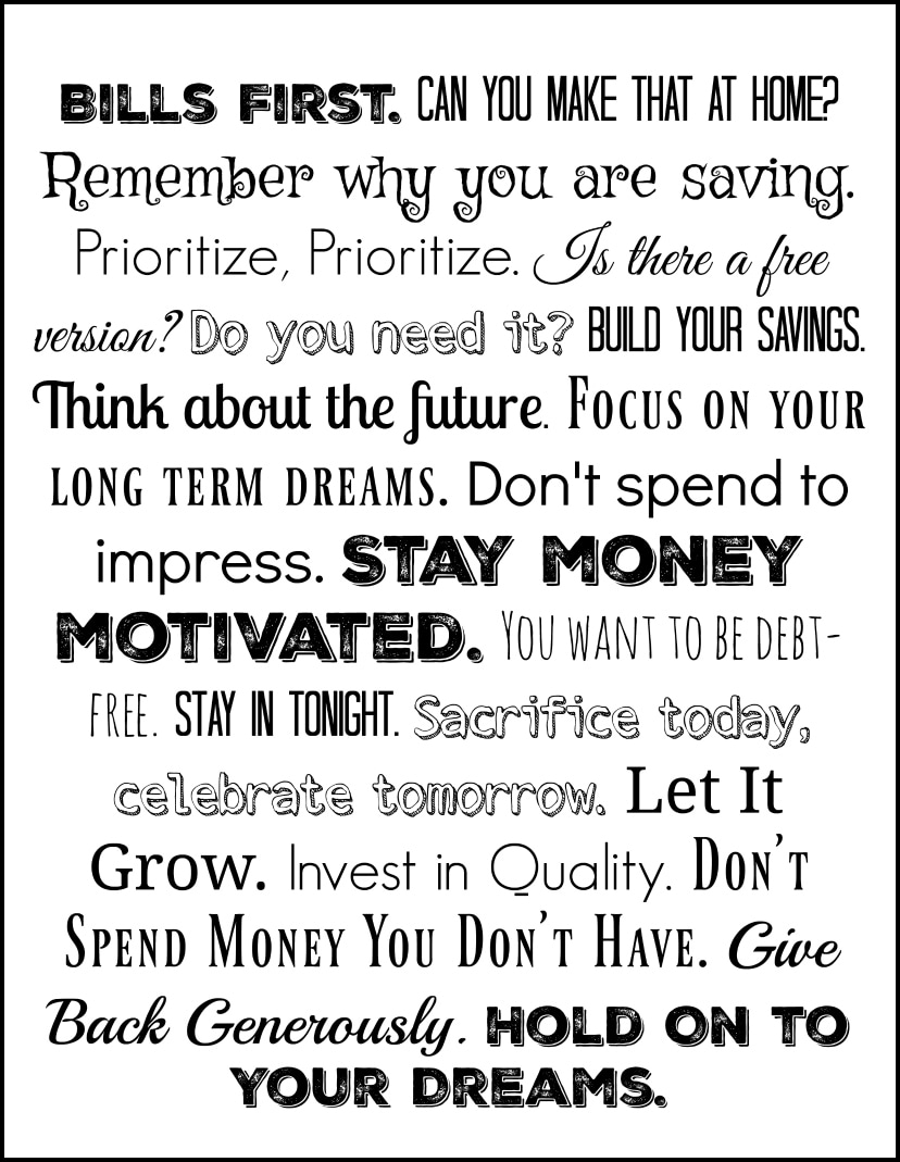 Personal Finance Reminder Poster Free Printable