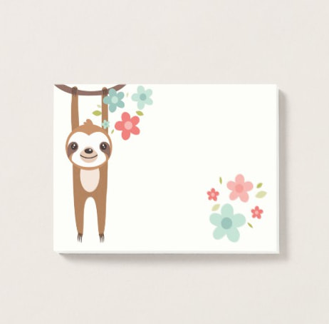 Cute School Supplies Sloth Sticky Notes